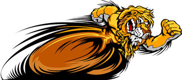 Racing Lion Mascot Graphic Image. Speeding Lion Running with hands Mascot  Illustration Stock Image