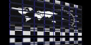 Racing monitor. Illustration of the around the world race screen Stock Photography