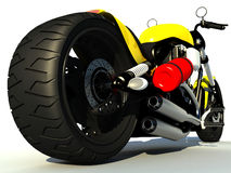 Racing motorbike. An isolated view of a fancy racing motorbike from a low perspective Royalty Free Stock Photos