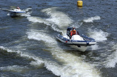 Racing of motorboats on the river. World Championship Endurance Pneumatics Class 1/2/3/4/5 24 hours St.-Petersburg July, 5-6th 2008 Royalty Free Stock Photo