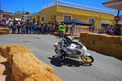 Racing Motorcycle. A Moto GP bike cornering during the Algueña motorcycle road race in Spain stock images