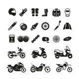 Racing motorcycle, motorbike parts and transportation vector icons. Black silhouette motorcycle, illustration of parts for motorcycle Stock Image