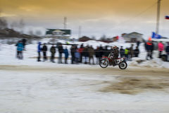 Racing motorcycle in winter Royalty Free Stock Photos