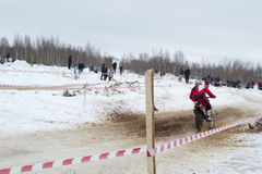 Racing motorcycle in winter Stock Images