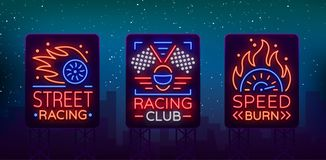 Racing neon billboard logos pattern. A glowing sign on the theme of the races. Neon signs, light night banner. Vector. Illustration Stock Photos
