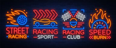 Racing neon logos pattern. A glowing sign on the theme of the races. Neon signs, light night banner. Vector illustration Stock Photo