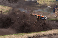 Racing on old tractors. Races on rough terrain, take place annually at the former testing ground `Don-25`, Rostov-on-Don, Russia, At different times, cars Stock Photo