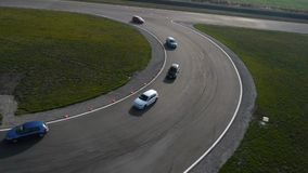Racing on the race track stock footage