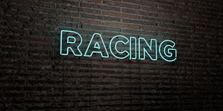 RACING -Realistic Neon Sign on Brick Wall background - 3D rendered royalty free stock image Stock Images