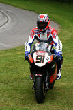 Racing rider on honda cbr1000 superbike. At goodwood festival of speed July 2008 royalty free stock photography