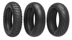 Racing, road and off-road, motorcycle tires. 3d rendering. 3D illustration, isolated on white background Stock Images