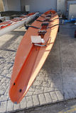 Racing rowing boat stern Stock Photo