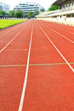 Racing run way track perspective line view. In stadium Stock Images