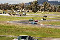 Racing through the S bends at Winton raceway during the Winton Historic 2017 Stock Photo