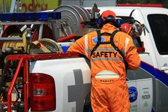 Racing safety crew Stock Images