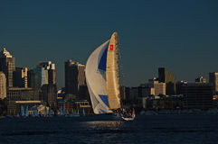 Racing Sailboat illuminated by the last rays of sun Stock Images