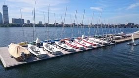 Racing sailing dinghies on Charles river in boston Stock Photos