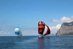 Racing sailing yachts Stock Image