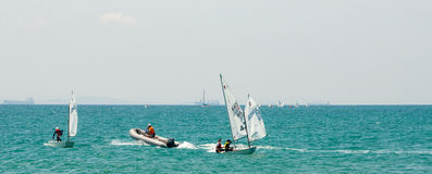 Racing sailing yachts near the town of Pomorie Royalty Free Stock Images