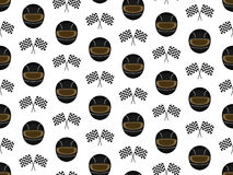 Racing Seamless Pattern Black Stock Images