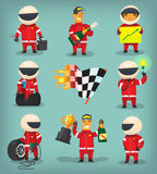 Racing set. Set of colorful racing participants, champions, engineers and pit stop workers Royalty Free Stock Photos