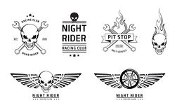 Racing skull emblems vector set Stock Photography