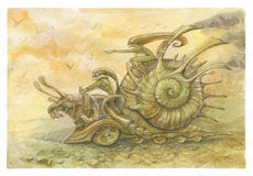 Racing snails. Picture with echoes of steampunk. racing snails. two elves run on giant battle metal snail Stock Photos