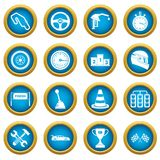 Racing speed icons blue circle set. Isolated on white for digital marketing Stock Photography