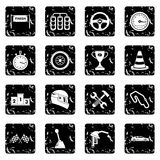 Racing speed icons set. In grunge style isolated on white background vector illustration Stock Photography