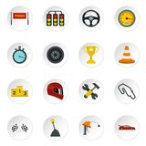 Racing speed set flat icons. Racing speed set icons in flat style isolated on white background Royalty Free Stock Image
