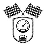 Racing speedometer award in monochrome striped with flags and crown. Vector illustration Royalty Free Stock Image