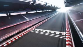 Race track finish area with motion blur and shiny lights Stock Photos