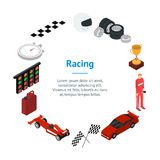 Racing Sport Banner Card Circle Isometric View. Vector Royalty Free Stock Photo