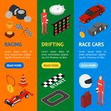 Racing Sport Banner Vecrtical Set Isometric View. Vector Stock Photo