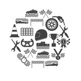 Racing Sport Black Icons Round Design Template Set. Vector Royalty Free Stock Photo