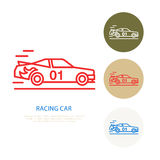 Racing sport car vector line icon. Speed automobile logo, driving lessons sign. Automo championship illustration Stock Photos