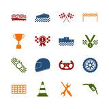 Racing Sport Color Icons Set. Vector Stock Image