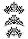 Racing sport emblems. With checkered flags and trophies Stock Photo