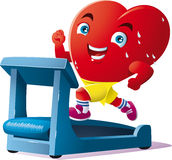 Racing is the sport of the heart. An animated heart run on the treadmill Stock Photography