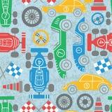 Racing sport seamless pattern. Racer championship seamless pattern. Classic sport cars vector background. Racing sport illustration stock illustration