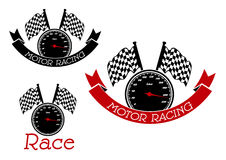 Racing sport symbols with speedometers and flags Royalty Free Stock Image