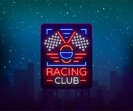 Racing Sports billboard neon logo emblem pattern. A glowing sign on the theme of the races. Neon sign, light banner. Vector illustration Royalty Free Stock Photo