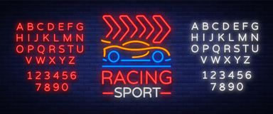 Racing Sports neon logo emblem pattern. A glowing sign on the theme of the races. Neon sign, light banner. Vector Stock Photography