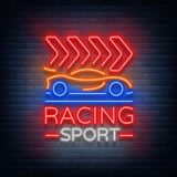 Racing Sports neon logo emblem pattern. A glowing sign on the theme of the races. Neon sign, light banner. Vector Stock Photos