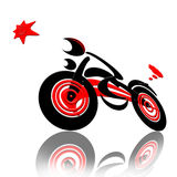 Racing  with The Star. Abstract extreme sports speed biker racing with the star isolated over white background Stock Images