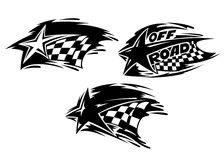 Racing stars with flags. Racing stars with checkered flags. Vector illustration royalty free illustration
