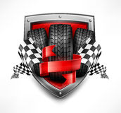 Racing symbols on shield. Tires, ribbon and flags, vector illustration Stock Photography