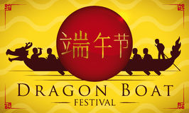 Racing Team in a Dragon Boat Festival Poster, Vector Illustration. Team of paddlers, drummer and sweep racing in Dragon Boat Festival Stock Photos