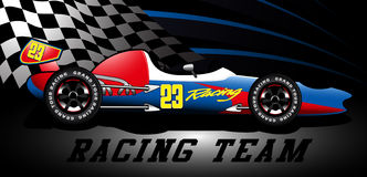 Racing team open wheel race car under a spotlight Royalty Free Stock Images