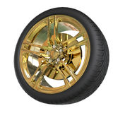 Racing tire with golden rim Royalty Free Stock Photo
